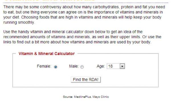 מחשבון לצריכה נכונה של מינרלים וויטמינים