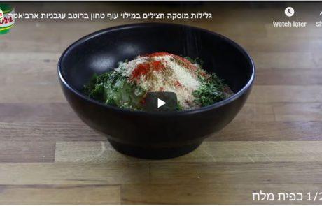 גלילות מוסקה חצילים במילוי עוף טחון ברוטב עגבניות ארביאטה